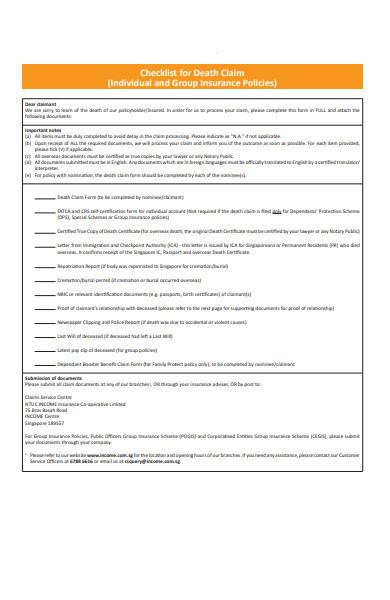 death checklist form