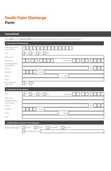 death claim discharge form