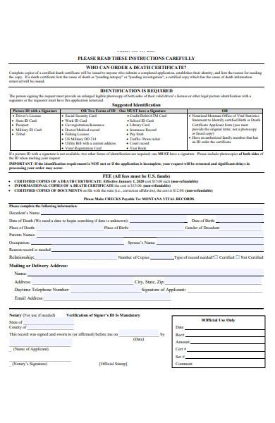 death identification form