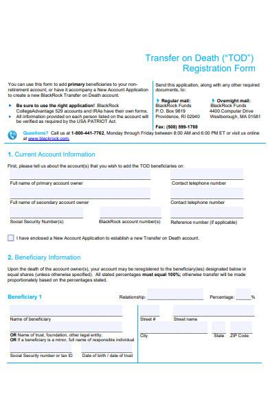 death registration form