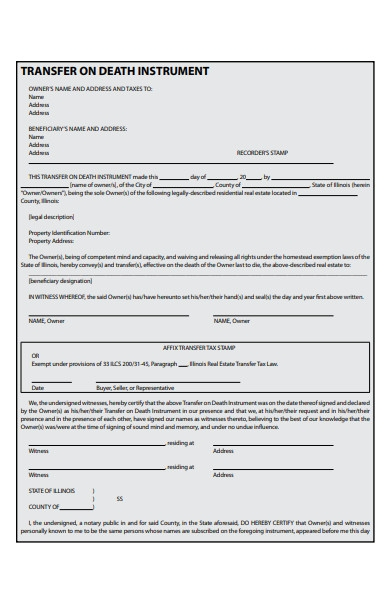death transfer deed form