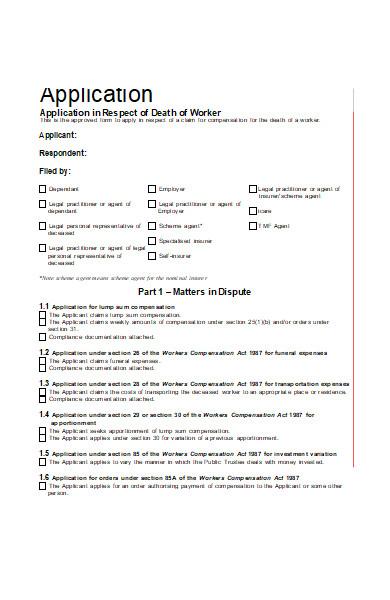 death worker application form
