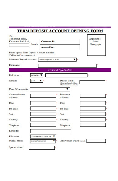 deposit account opening form