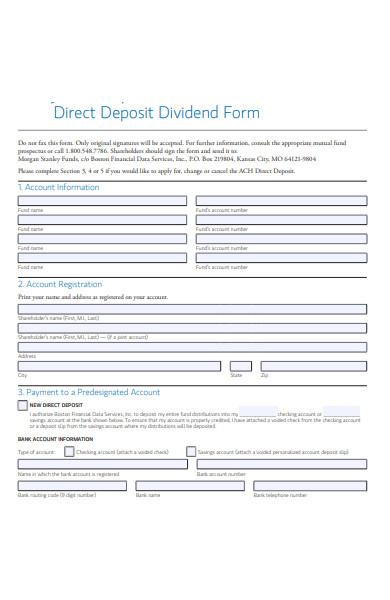 deposit dividend form