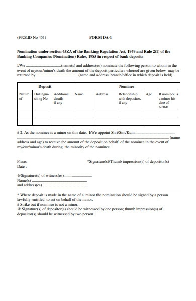 deposit nomination form