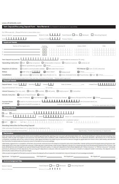 deposit renewal form