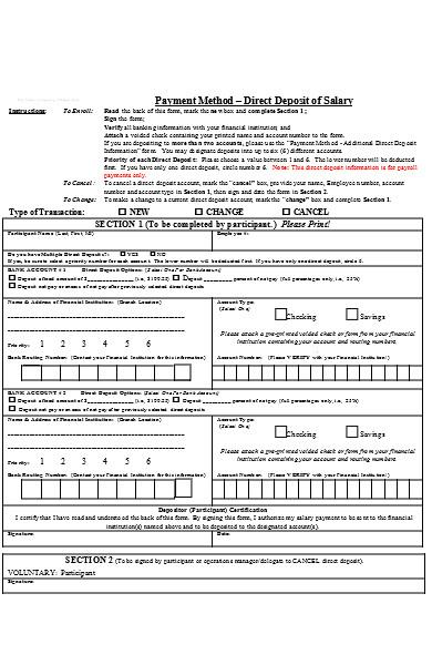 deposit salary form