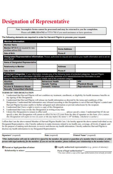 designation of representative form