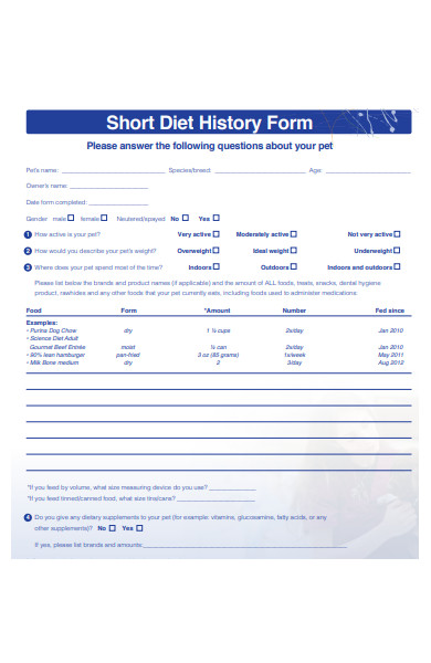 diet history form