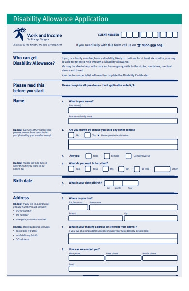 disability allowance form