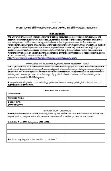 disability assessment form