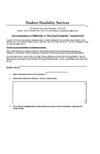 disability service form