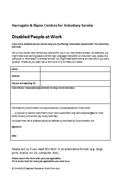disabled people at work form