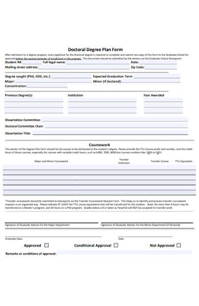 doctoral degree plan form