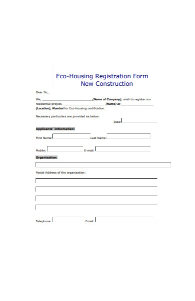 eco housing construction registration form