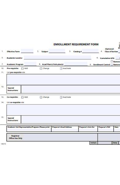 enrollment requirement form