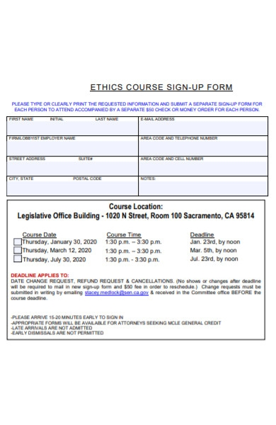 ethic course signup form