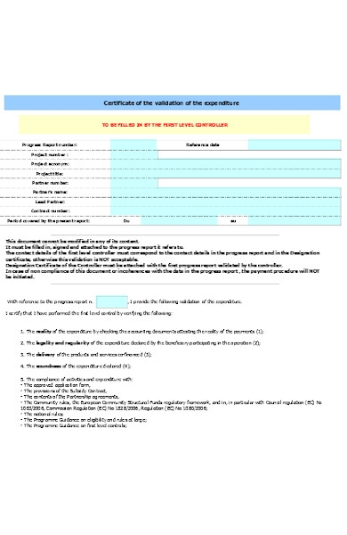 expenditure certificate form