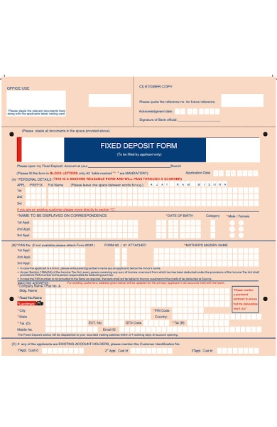 fixed deposit form