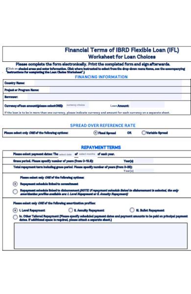 flexible loan worksheet form