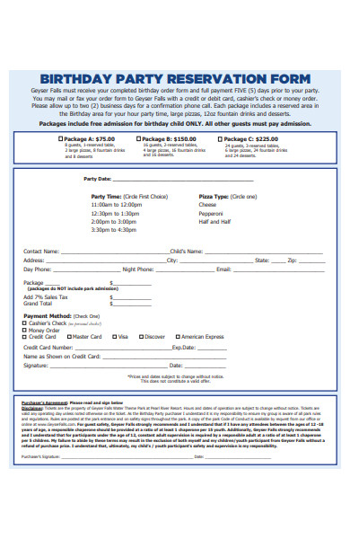 formal birthday party reservation form