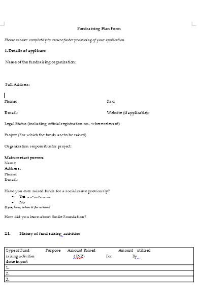 fundraising plan form