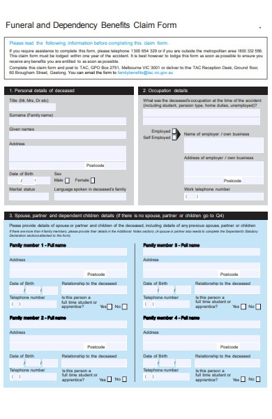 funeral benefit claim form