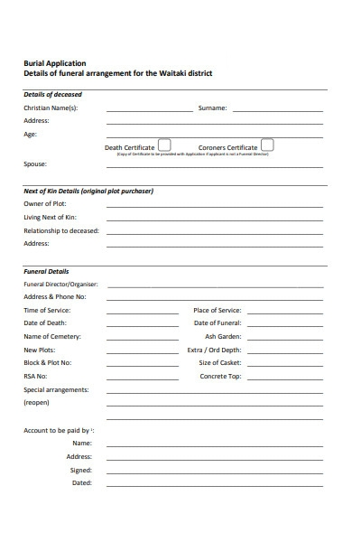 funeral burial application form