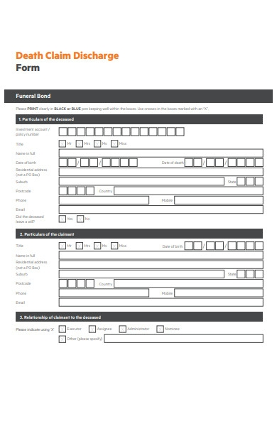 funeral death discharge form