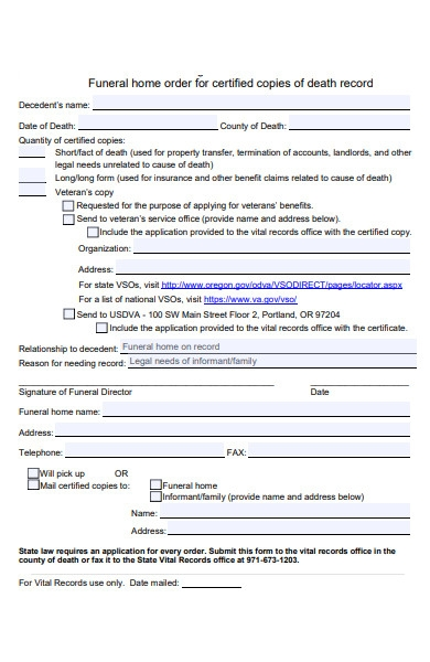 funeral death record form