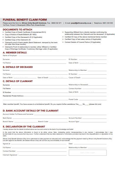funeral details form