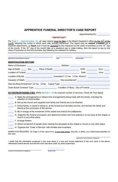 funeral director case report form