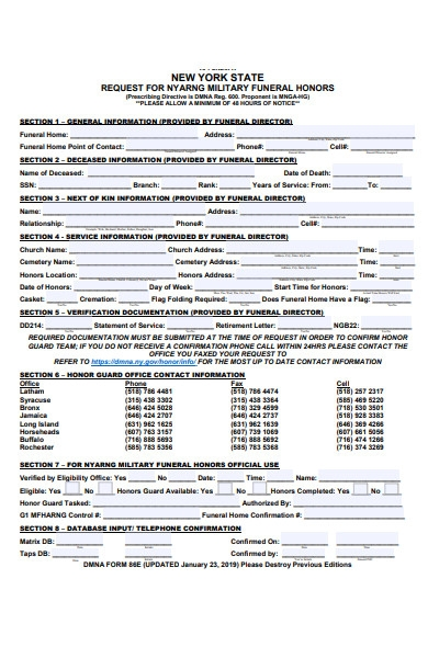 funeral honor request form