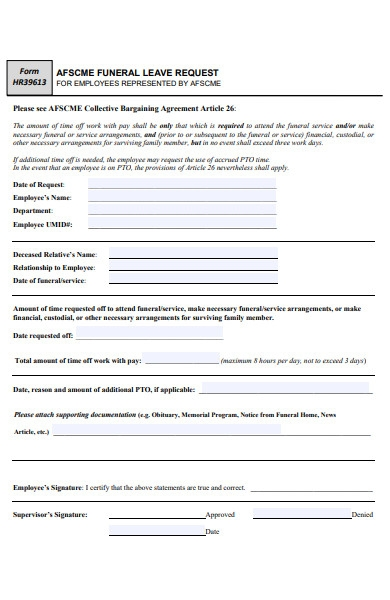funeral leave request form