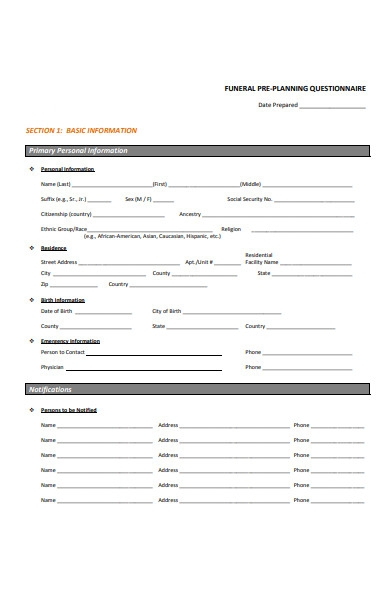funeral questionnaire form