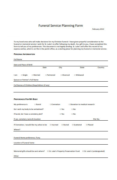 funeral service planning form