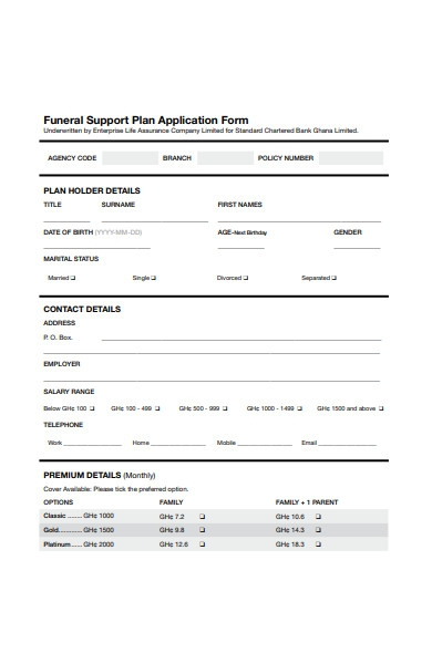 funeral support plan form