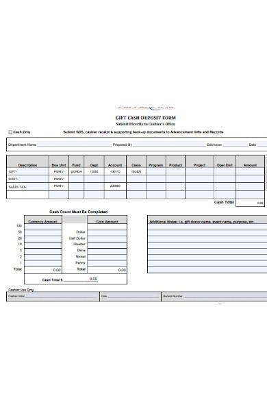 gift cash deposit form
