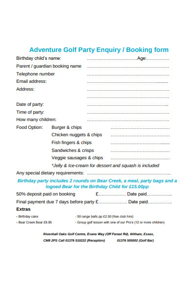 golf party enquiry form