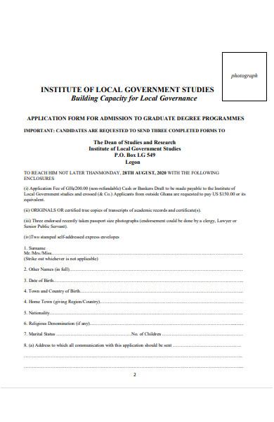 graduate admission form
