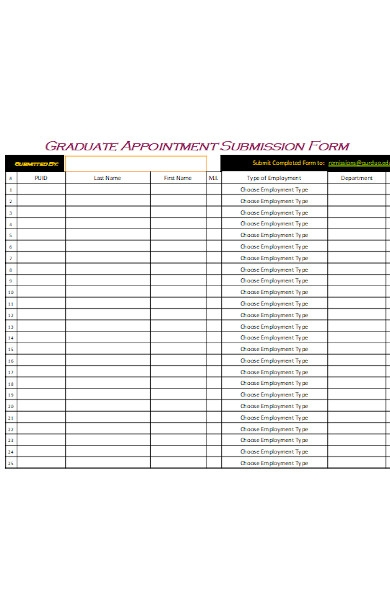 graduate appointment submission form