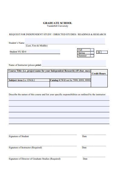 graduate course form