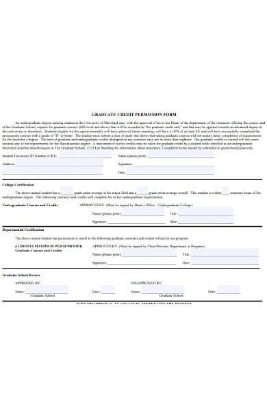 graduate credit permission form