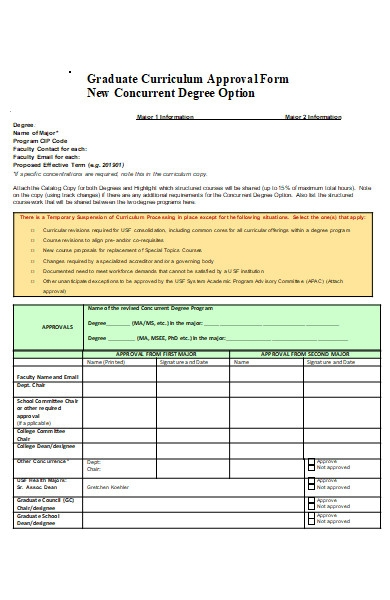 graduate curriculum approval form