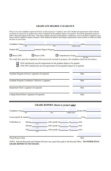 graduate degree clearence form