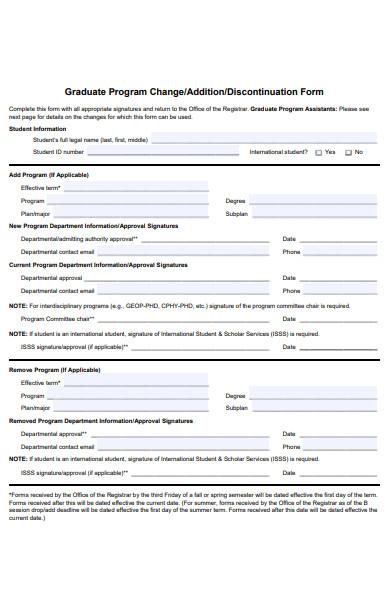 graduate discontinuation form