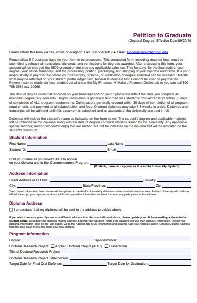 graduate information form