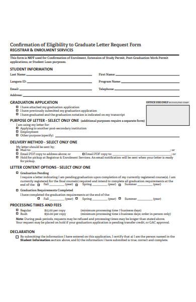 graduate letter request form