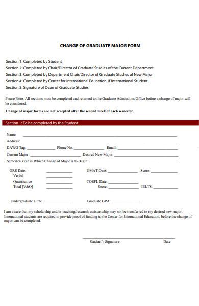 graduate major form