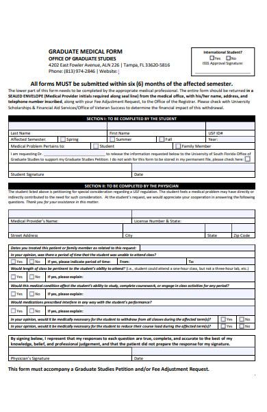 graduate medical form